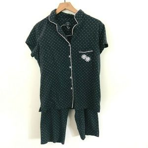 Laura Ashley 2 Piece Polka Dot Pajama Set Large